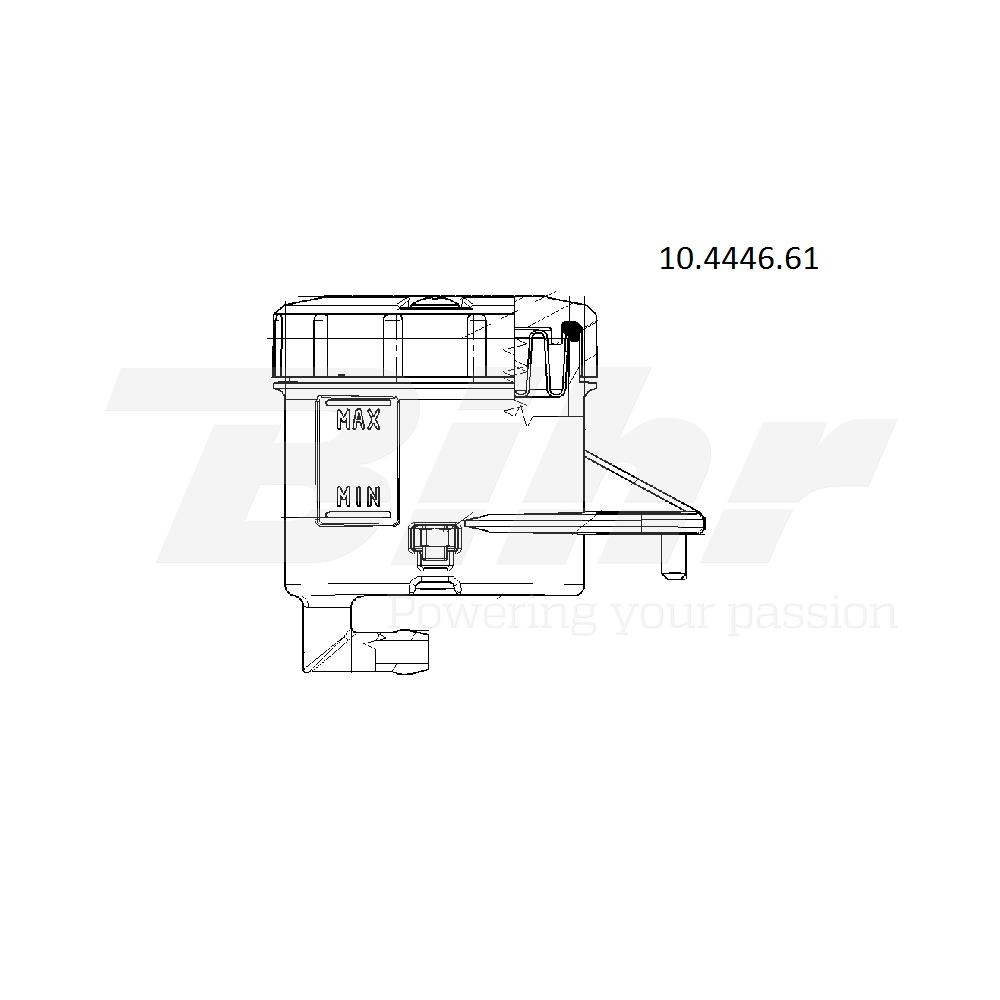 Depósito para bomba salida 90º soporte horizontal agujero grande