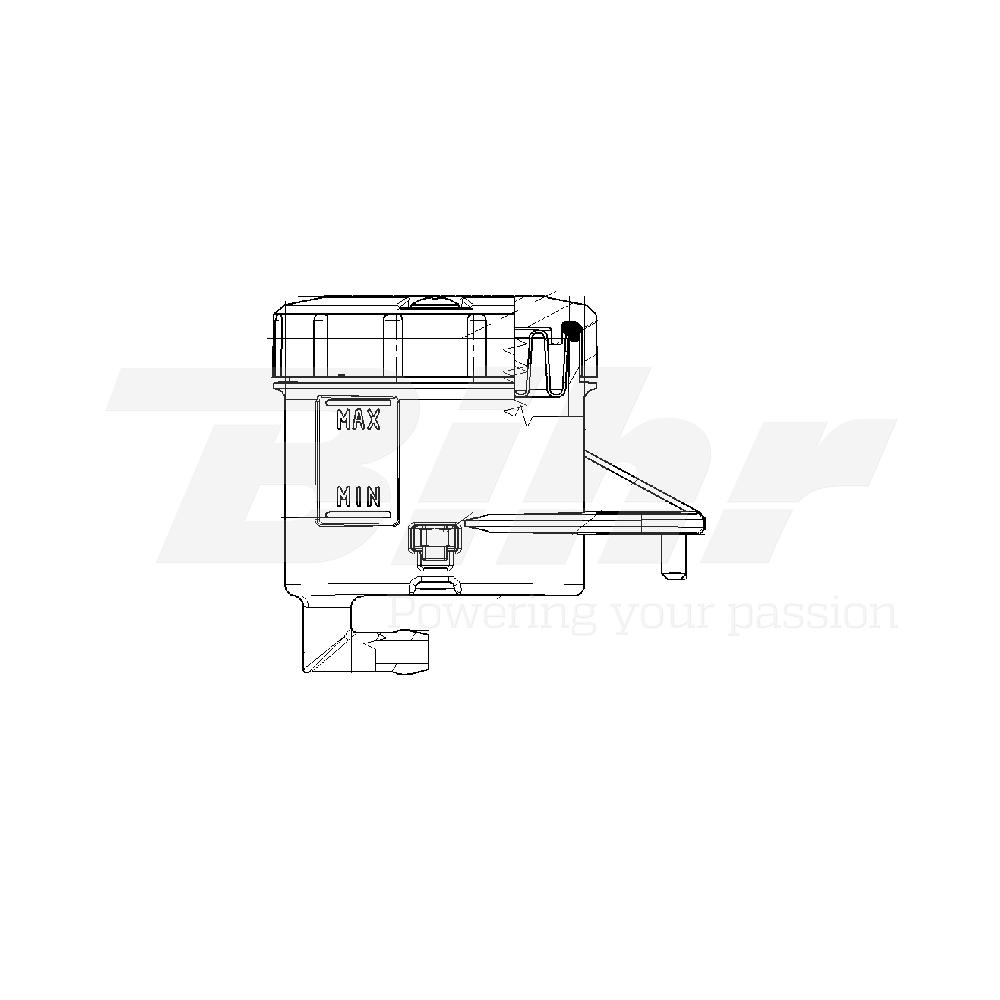Depósito para bomba salida 90º soporte horizontal agujero grande ahumado