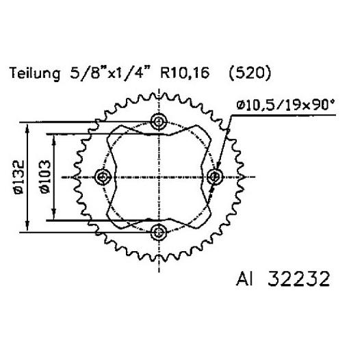 Corona plato transmision trasero aluminio 51-32232 36 dientes