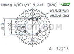 Corona plato transmision trasero aluminio 51-32213 42 dientes