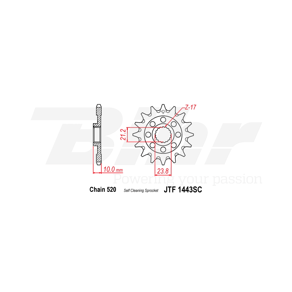 Piñon acero autolimpiable 1443SC 13t